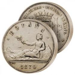 La 5 Pesetas Argent de 1870