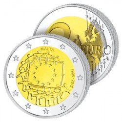 2 Euros Malte – Drapeau Européen