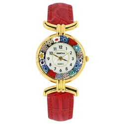 Montre Murano cuir rouge