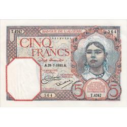 5 Francs Algérie type 1933