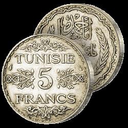 5 Francs Argent Tunisie...