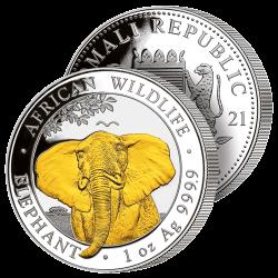 Grand Éléphant Argent & 24...